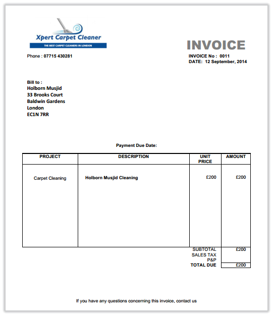 Carpet Cleaning Invoice - Carpet