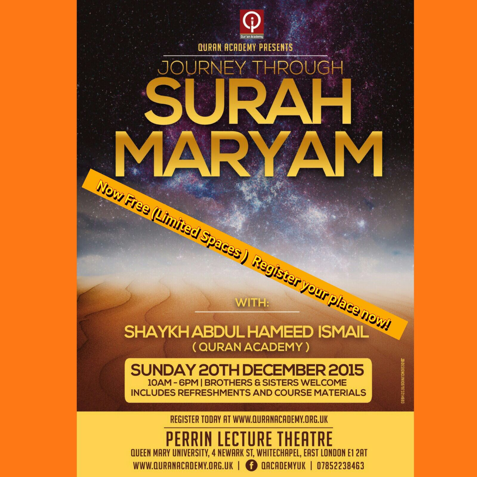 Event : 20th December 2015 in E1 : Shaykh Abdul Hameed Ismail